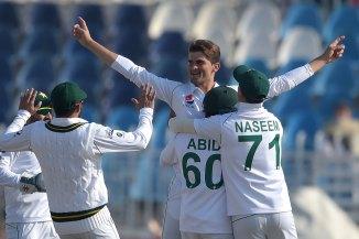 Shaheen Shah Afridi four wickets Pakistan Bangladesh 1st Test Day 1 Rawalpindi cricket