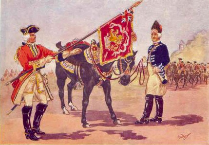 The 8th Horse, later the 7th Dragoon Guards and the 11th Dragoons, later the 11th Hussars (painting by Major R.M.Barnes)