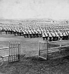 Russian Troops Parading  (note the white summer uniforms)