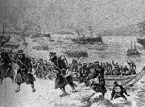 Japanese troops landing at Inchon, February 1904