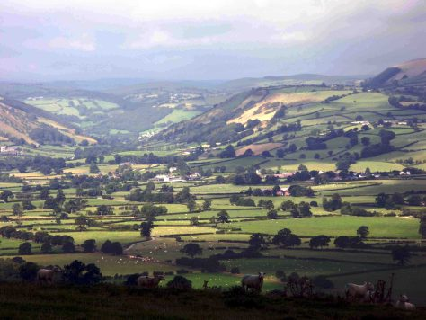 View of the Severn Valley from The summit of Cefn Carnedd Hill Fort. Photograph, Robert Lee 2005