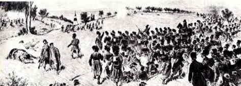 Austrian Jäger battalion advancing to the Sweipwald wood.