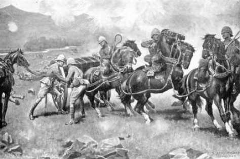 The last desperate attempt to save the guns of the 14th and 66th batteries-Battle of Colenso. (Sidney Paget)