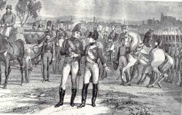 Tsar Alexander and Napoleon at Erfurt, October 1808 (Painting by Philipoteaux) Bibliothéque Nationale-Paris.