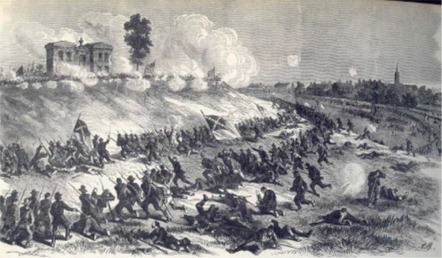 A Drawing by the war artist Edwin Forbes, supposedly made at the time. It shows the attack of Ewell's corps on Cemetery Hill during the evening of 2nd July. (Culver Pictures, New York)
