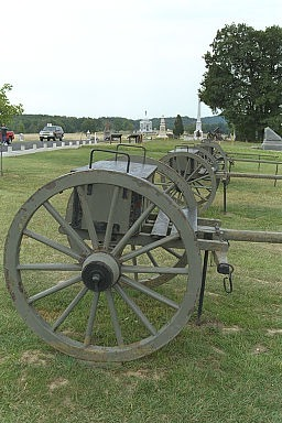 These caissons mark the position of Cushing's Union batteries, which did so much damage to Pickett's division. The Confederate attack came in from the right. (Copyright Allen Goodall 2003)