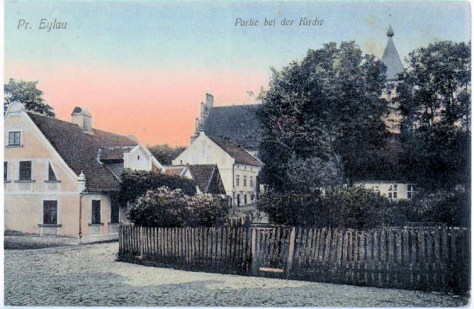 Hand tinted postcard of Eylau 1900