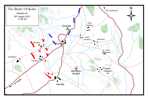 The Battle of Kulm, 29th August 1813. Situation at 11:00 a.m.