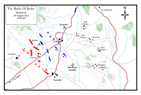 The Battle of Kulm, 29th August 1813. Situation at 4:00 p.m.
