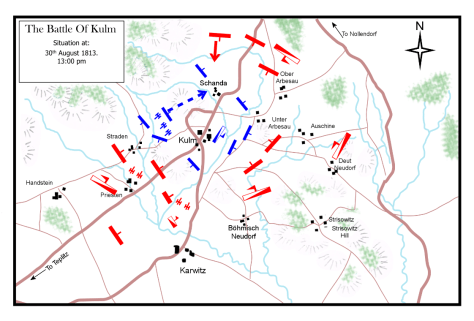 The Battle of Kulm August 30th 1813. Situation at 1:00 p.m.