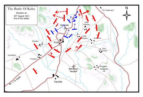 The Battle of Kulm 30th August 1813. Situation at the end of the battle.