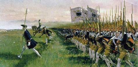 Although this painting (by Carl Röchling) is of the Prussian infantry at the battle of Hohenfriedberg (4th June 1745), it nevertheless gives a perfect impression of how the troops looked while advancing at Kolin – a splendid target indeed!