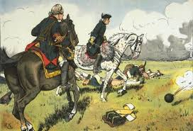 """Frederick """"off on his own."""" Painting by Richard Knötel."""