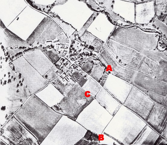 Looking directly down over Brampton Bryan (6/4/1990). The river Teme may be seen at the top right of the view