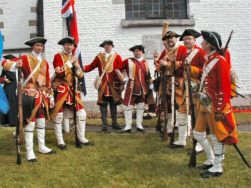 Members of Pulteney's Regiment (13th Foot) re-enactment group.