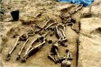 One of the grave pits discovered on the battlefield.