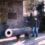 Ligny Village. The French cannon and Lou, my Swiss partner .