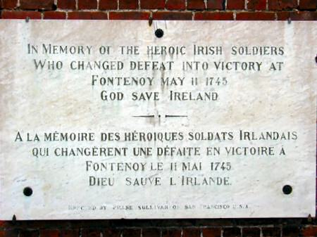 Plaque commemorating the Irish Troops in French service
