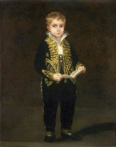 Victor Guye by Goya. Oil on canvas, 1810. National Gallery of Art, Richmond Virginia, U.S.A. On the back of the original fabric (no concealed by the lining) is the inscription: C'de mon Fils a été peint par Goya pour faire le pendant de celui de Frère le General. Vt Guye. (trans: This portrait of my son was painted by pendant to that of my brother the General V[incen]t Guye)