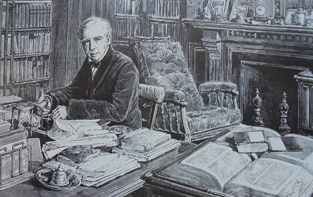 Military Historian at Desk with Books