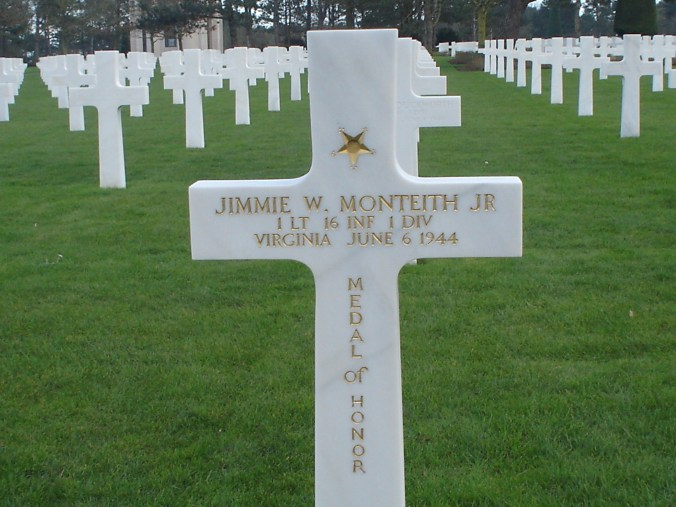 Jimmie Monteith at Omaha Beach Cemetery