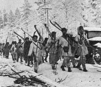 Finnish Troops Marching on Raate Road in Winter War