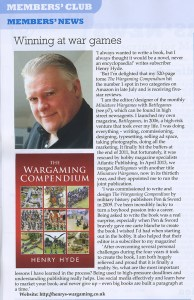 """Clipping from """"Writers' News"""" November 2013 issue concerning author Henry Hyde and """"The Wargaming Compendium"""""""