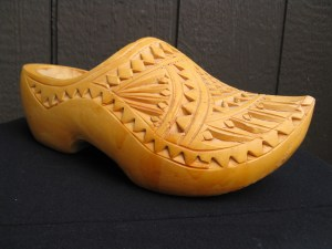A fancy wooden clog