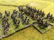 One of my fleeting moments of glory – Prussian hussars crash into an Austrian column and send it packing.10mm miniatures in the collection of Andrew Brentnall. Photo by Henry Hyde of the February 2015 game.