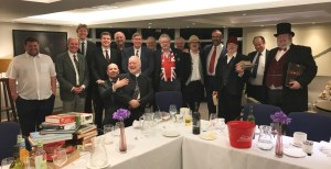 """The gang's all here! Everyone in good spirits after giving away all their money. You may notice some sartorial elegance, which is traditional at the event, with the best-dressed player winning the """"dandy"""" trophy."""