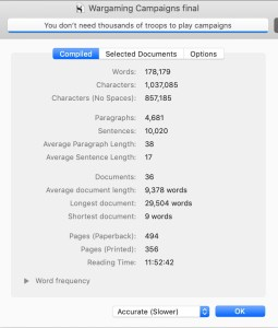 Statistics for my Wargaming Campaigns book from the Scrivener software I use.