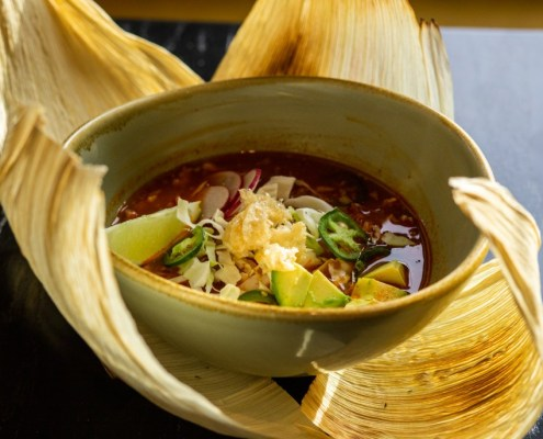 bowl of pozole Mexican soup served in Kent Ohio