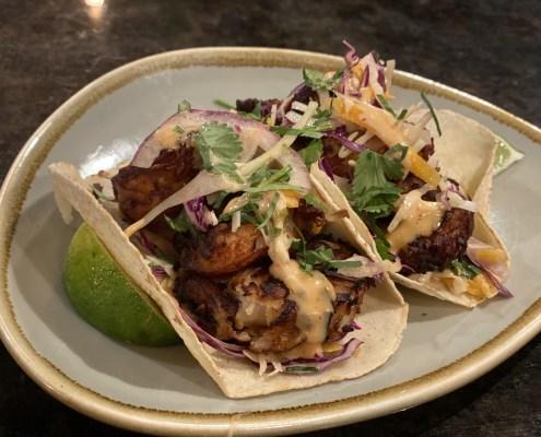 shrimp tacos on plate Mexican restaurant The Battleground