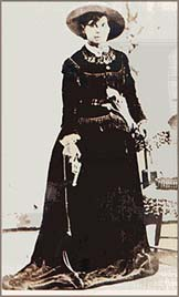 "Belle Starr in 1887 (daughter of John Shirley) ""Queen of the Outlaws"""