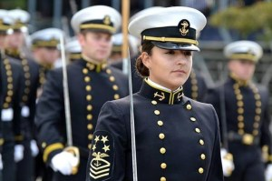 Female mids at the Naval Academy wear the male combination covers as part of their uniform.  (Naval Academy)
