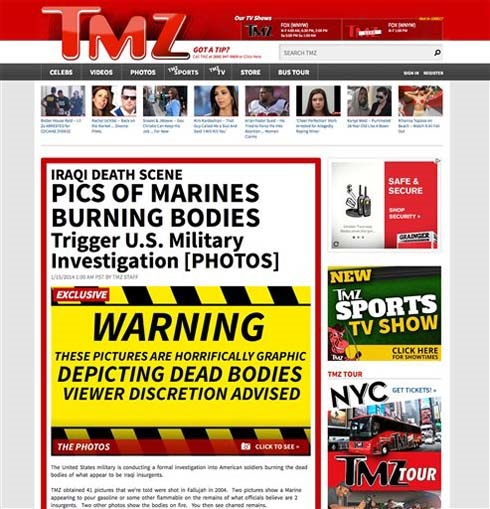 TMZ posted a warning on eight photos posted on the entertainment website this morning. The photos appear to show Marines burning Iraqi corpses. (Associated Press)