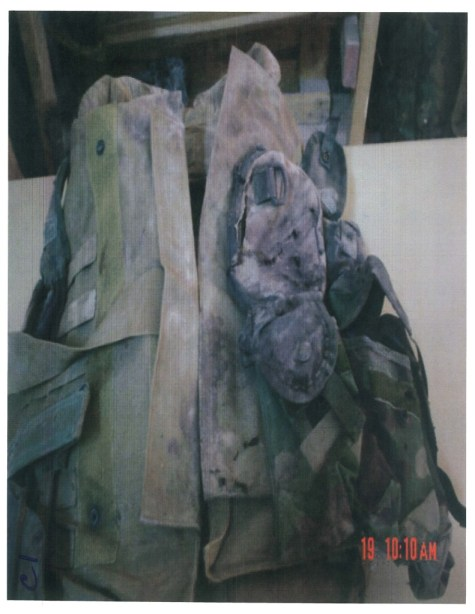 This image, provided courtesy of Rep. Duncan Hunter's office, shows the front of Sgt. Rafael Peralta's damaged and battered flak jacket.