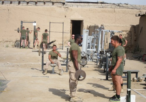Marines work out at the outd​oor gym at FOB Sabit Qadam. Officials say they plan to leave the gym standing when they withdraw from the region
