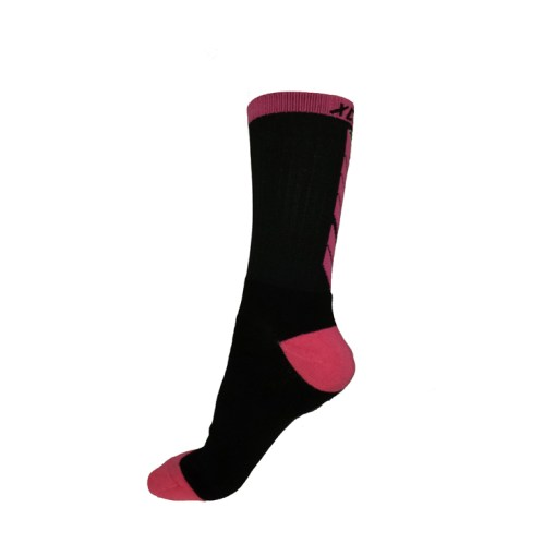 The Battle Tek Athletics XCLR8 Black and Pink Performance Socks offer Moisture Control, Impact Absorbency and Great Style – Side View