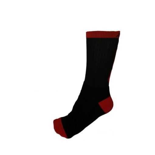 The Battle Tek Athletics XCLR8 Black and Red Performance Socks offer Moisture Control, Impact Absorbency and Great Style – Side View