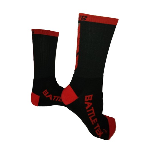 The Battle Tek Athletics XCLR8 Black and Red Performance Socks offer Moisture Control, Impact Absorbency and Great Style – Side Views