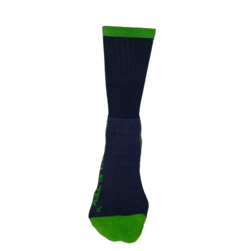 The Battle Tek Athletics XCLR8 Navy and Green Performance Socks offer Moisture Control, Impact Absorbency and Great Style – Front View