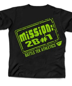 Black and Green Battle Tek Athletics Mission To Be Number One Mens Performance Tee Shirt
