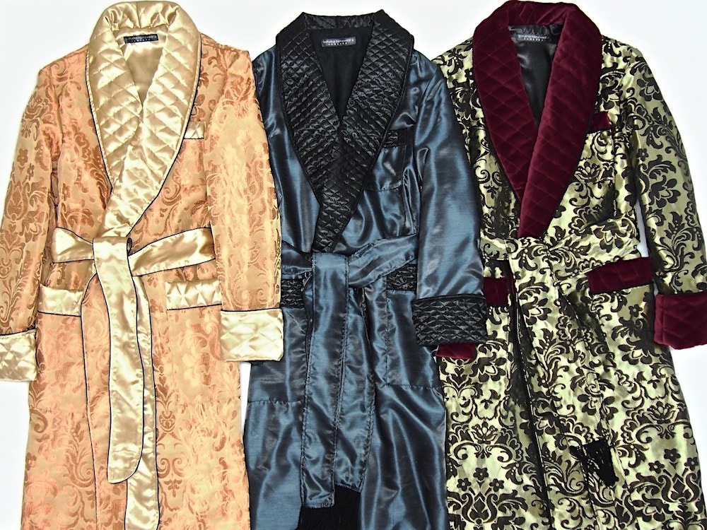 Men's Luxury Silk Dressing Gowns Quilted