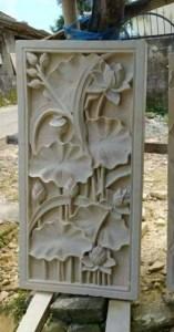 Motif Bunga Relief Batu Paras Ukir