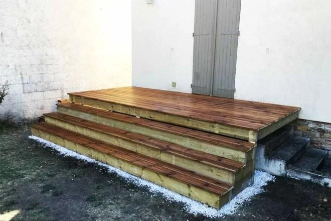 aménagement extérieur en bois terrasse et marches saint Maur des fosses 94