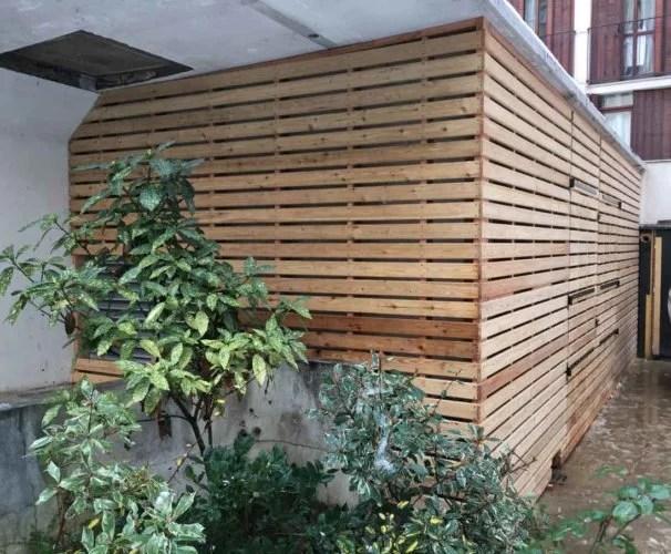 Bardage bois horizontal avec ouverture