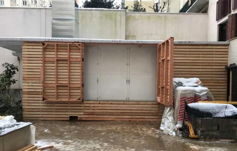 construction en bois pour habillage extérieur salle de gym neoness paris