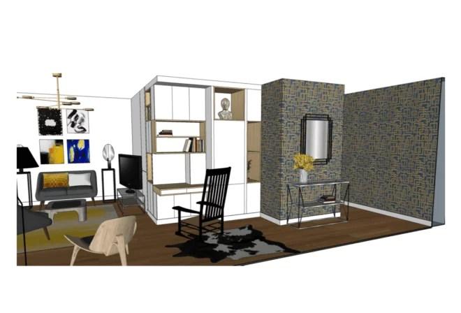 plan 3D Amenagement salon deco Interieure