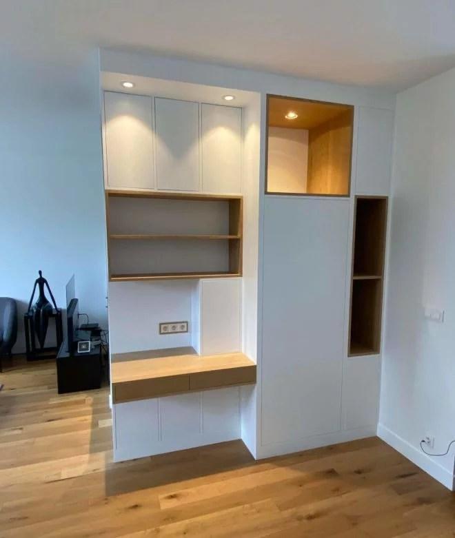 meuble sur mesure chêne et médium spot éclairage salon 94
